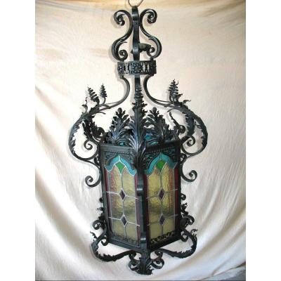 Large Wrought Iron Lantern And Colored Stained Glass