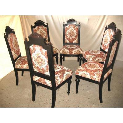 Suite Of 6 Mahogany Chairs Napoleon III Louis XVI Style