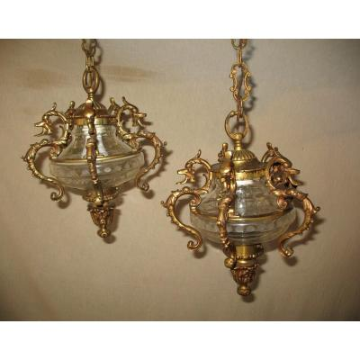 Pair Of 19th Century Bronze And Cut Crystal Lanterns