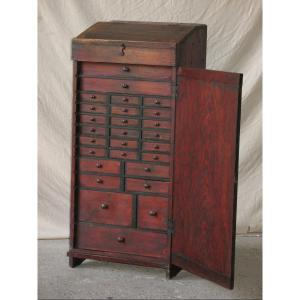 Watchmaker Jeweler's Layette Furniture With 27 Drawers And Small Tools