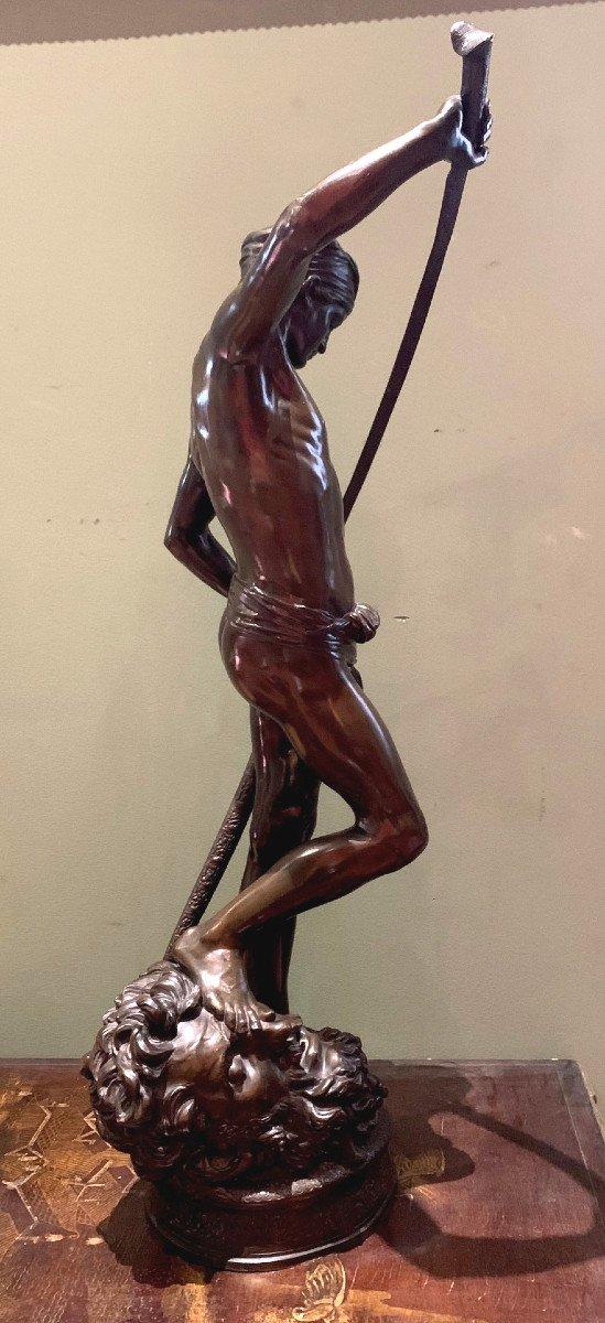 Sculpture En Bronze  David Vainqueur d'Antonin Mercié-photo-1