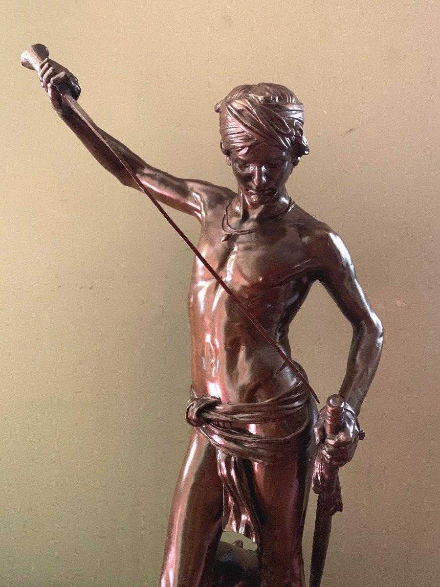 Sculpture En Bronze  David Vainqueur d'Antonin Mercié-photo-2