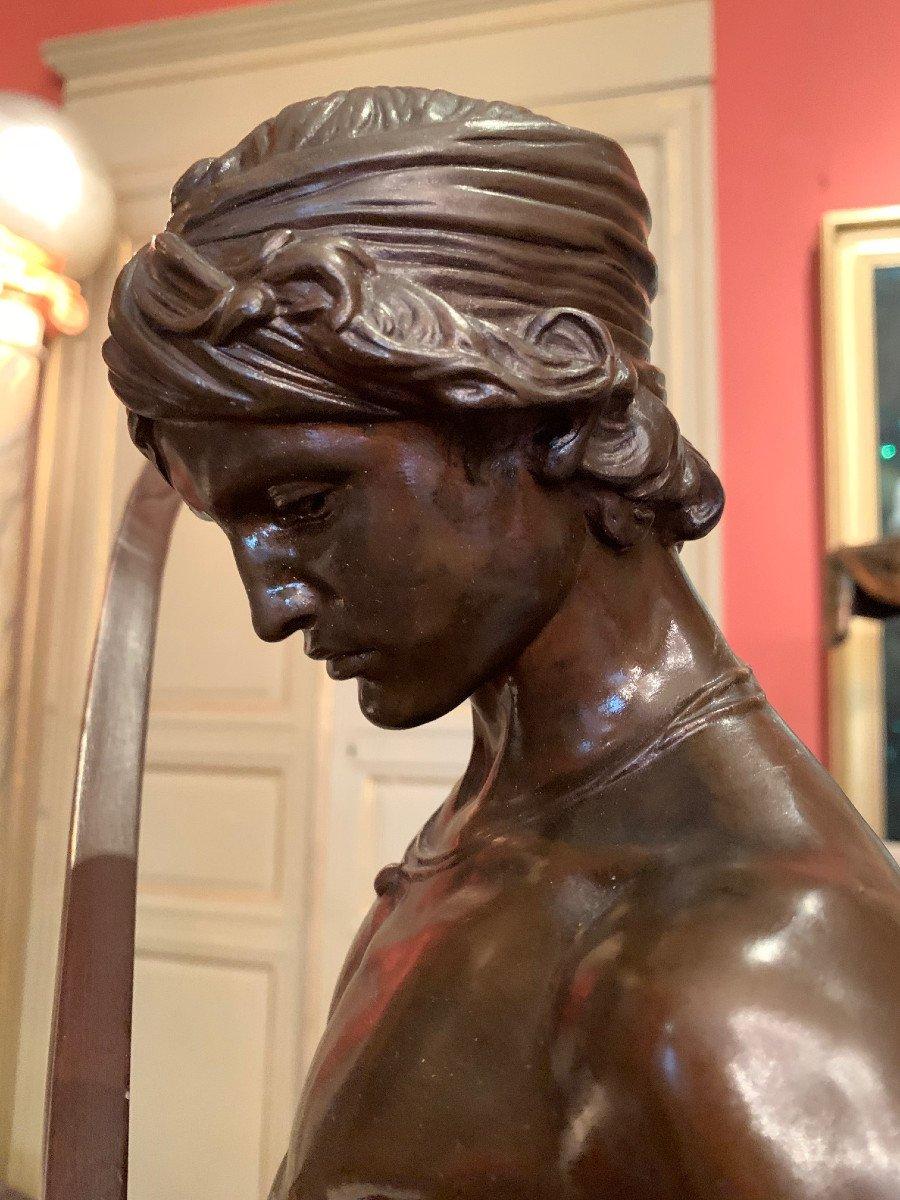 Sculpture En Bronze  David Vainqueur d'Antonin Mercié-photo-7