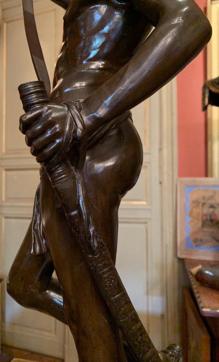 Sculpture En Bronze  David Vainqueur d'Antonin Mercié-photo-8