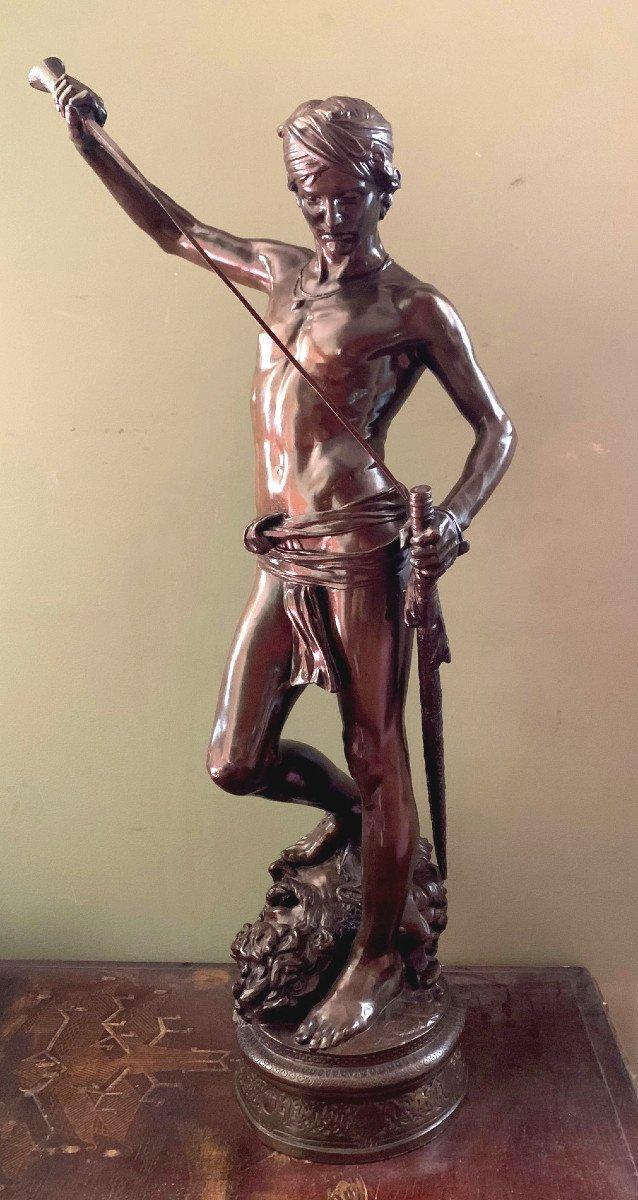 Sculpture En Bronze  David Vainqueur d'Antonin Mercié