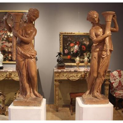Paire de statues en stuc XVIIIème