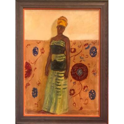 Tableau  H/t  portrait d' africaine Signé G.A Klein