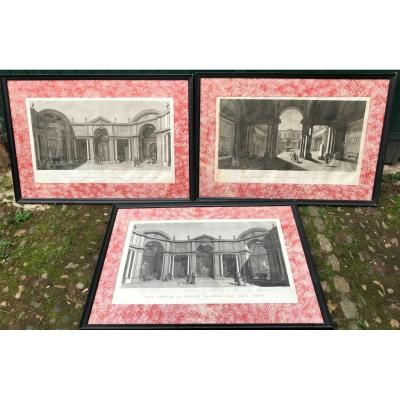 Three large very decorative prints representing the interior of the Vatican Museum by Vicenzo Feoli engraver (1750-1831)<br /> From drawings by Miccinelli (1760-1827)<br /> Between 1790 and 1800.<br /> These famous etchings represent the new rooms of the Vatican Museum of Antiquities (Museo Pio-Clementino), radically renovated by Pius VI at the end of the eighteenth century.<br /> Simple black frames, recent, elegant mat in binding paper.