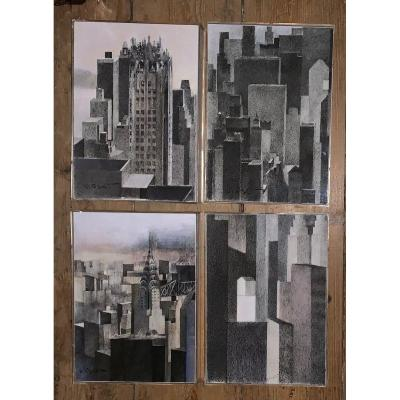 Set Of 4 Signed New York Views Drawings