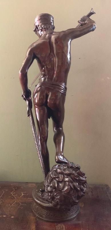 Sculpture En Bronze  David Vainqueur d'Antonin Mercié-photo-3