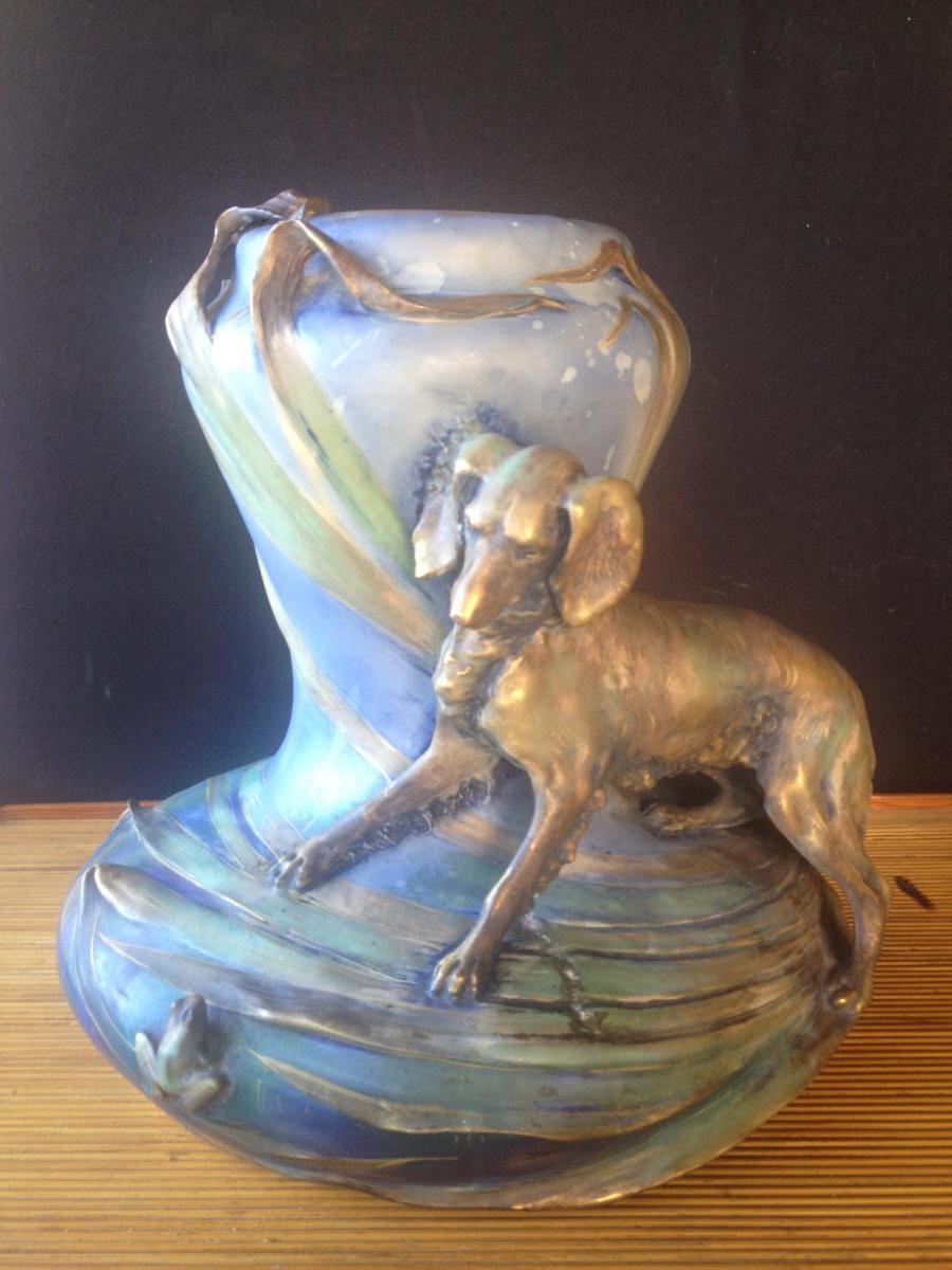 """Vase Porcelaine Signé """"amphora"""""""