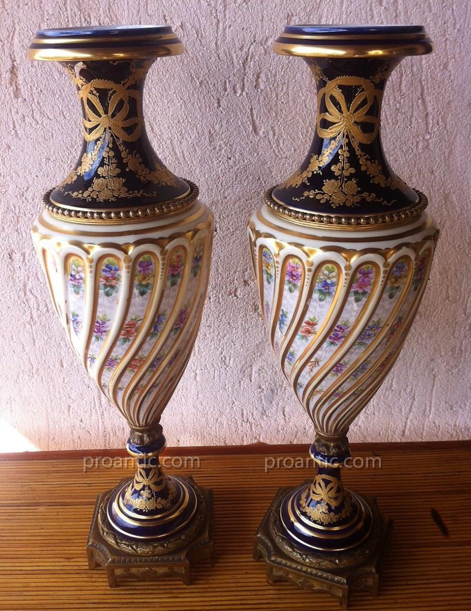 Paire de Vases XIXème dans le gout de Sèvres