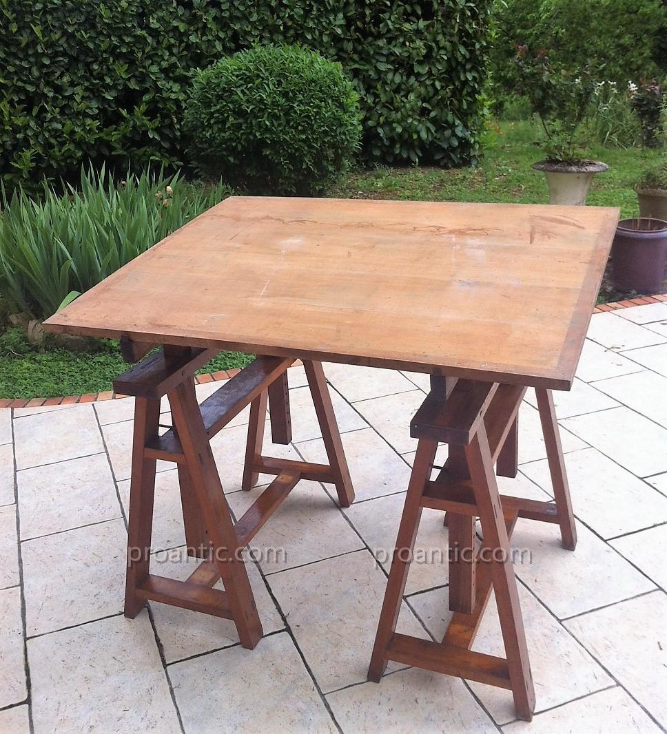 Table D Architecte En Bois table d'architecte sur treteaux ancienne - meubles de métier