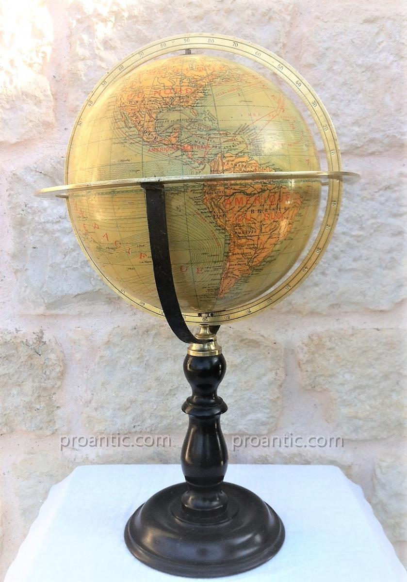 """Globe Terrestre """"Ikelmer Paris"""" XIX éme"""