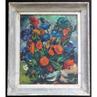 Bouquet de Fleurs signé S.Rey de Jaegher
