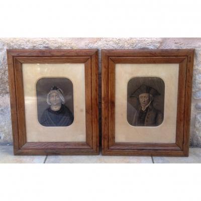 Portraits XIXème Homme et Femme de qualité