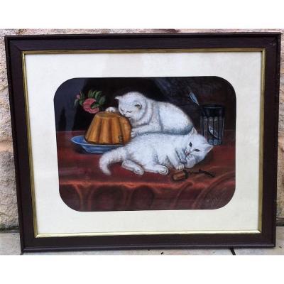 """Pastel XIXème signé """"Gabrielle CAPUS """" Les chats blancs"""