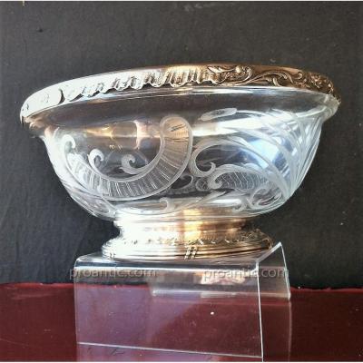 Coupe en Cristal  et Argent XIX ème