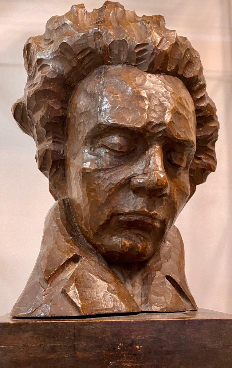Buste Beethoven Sur Bois Par Charles Auffret - XXème