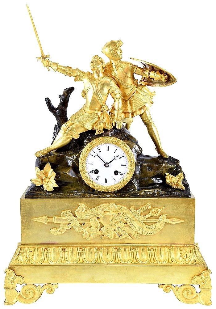 Grande Pendule Aux Chevaliers En Bronze Doré Et Bronze Patiné - Époque Restauration