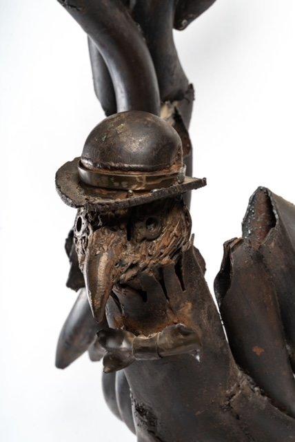 Black Eagle - Soldering Iron Sculpture - Jean Alexandre Delattre - Period XXth-photo-2