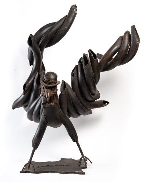 Black Eagle - Soldering Iron Sculpture - Jean Alexandre Delattre - Period XXth-photo-3