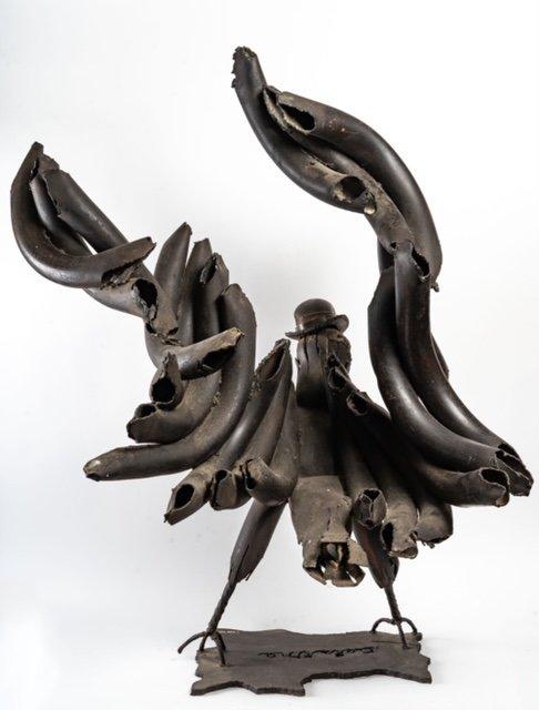 Black Eagle - Soldering Iron Sculpture - Jean Alexandre Delattre - Period XXth-photo-4
