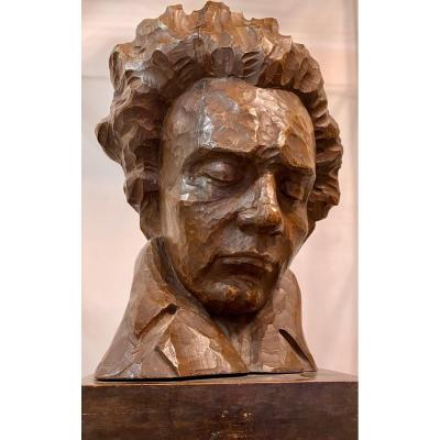 Beethoven Bust On Wood By Charles Auffret - 20th Century