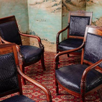 4 Empire Period Mahogany Armchairs - Leather Upholstery Christian Dior