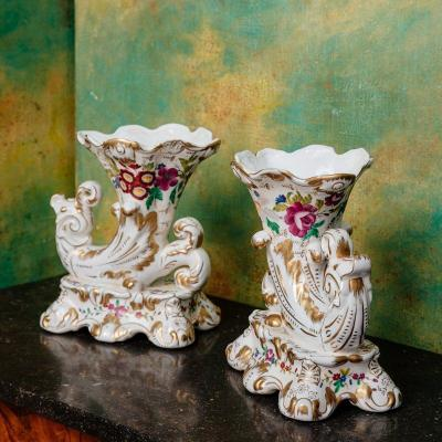 Pair Of Rython Vase - Polychrome And Gilded Porcelain - XIXth Century