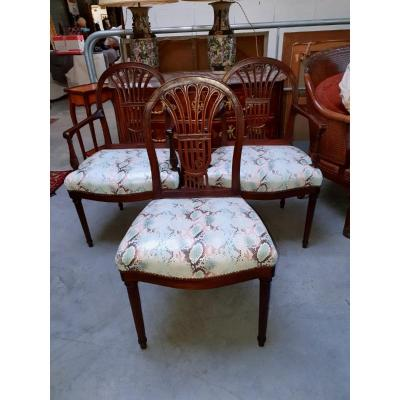 Pair Of Armchairs And Chair Stamped Henri Jacob - Period: Louis XVI