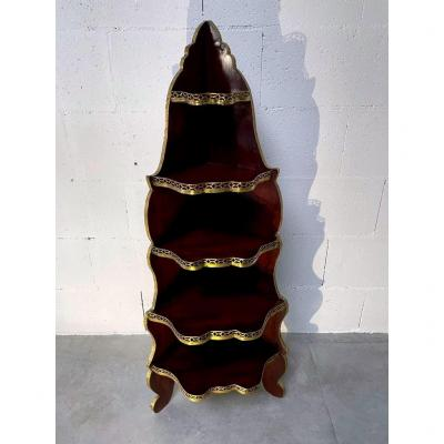 Open Corner Shelf On Feet - Solid Rosewood And Rosewood Veneer - Nineteenth