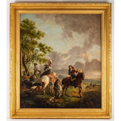 Huile Sur Toile -  Suiveur de Karel Van Falens  - Ecole Flamande