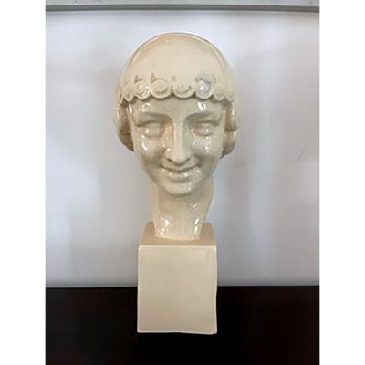 Éphèbe Sculpture En Porcelaine Craquelé - Art Déco - Signée : F.trinque