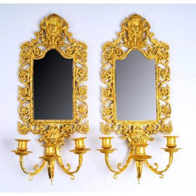 Paire d'Appliques Miroir En Bronze Doré à La Feuille - XIXème Siècle