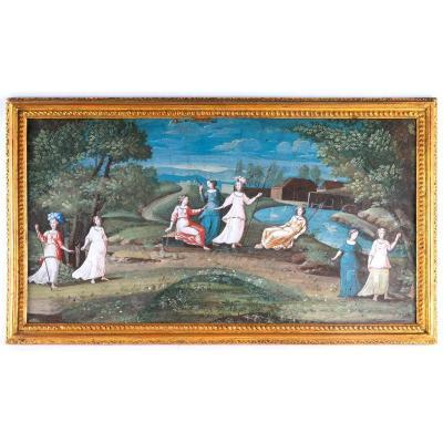 Esquisse De Peinture - Projet d'éventail - Inspirée Des Militantes De 1789 - XVIIIème Siècle