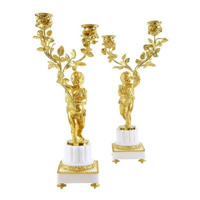 Beautiful Pair Of Candlesticks Two Arms - Gilt Bronze - Louis XVI Style - Napoleon III Period