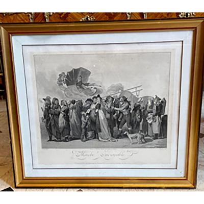 Very nice engraving entitled &quot;Marche Incroyable&quot; which represents an amusing parade, gathering different characters in Directoire period costumes.<br /> <br /> Period: 18th century<br /> Edition : 1798<br /> Dimensions: H :74 x W :66cm<br /> <br /> Description: Technique of the image: engraving. - burin. - stipple engraving<br /> In the middle: &quot;Registered at the Biblioth&egrave;que Nationale, as the property of the publishers.<br /> <br /> Engraver: Jacques Bonnefoy&nbsp;<br /> Painter of the model : Louis-L&eacute;opold Boilly (1761-1845), French painter, draughtsman, lithographer.<br /> <br /> This print, which brings together several caricatures given successively to the public, is of a very original and striking effect.<br /> <br /> Among the groups of which this march is formed, one notices the scene of a money merchant, whose features and attitude are of a striking truth.<br /> <br /> Some marvellous, some unbelievable, some dupes, and above all a supporter of the famous revolutionary committees giving his arm to one of those famous knitters, worthy priestesses of the cult of Robespierre.&nbsp;<br /> <br /> Behind the march, we see one of the elegant men of the day knocked down in his cabriolet by the impetuous movement of his frightened horse. No doubt at the sight of the characteristic physiognomies of this truly &quot;incredible&quot; march.&nbsp;&quot;<br /> &nbsp;<br /> In a note loaded without modification from the Inventaire du fonds fran&ccedil;ais, graveurs du XVIIIe si&egrave;cle, it is noted that many of these figures were painted or drawn by Louis-L&eacute;opold Boilly separately.&nbsp;<br /> One example is a drawing entitled &quot;Le Cabriolet renvers&eacute;&quot;.<br /> <br /> A very beautiful observation, so disturbingly real, of the turbulent times of the French Revolution.<br /> <br /> <br /> Certificate given with the object.<br /> https://www.pyantics.com<br /> https://www.marchebiron.com<br /> https://www.pucesdeparissainto