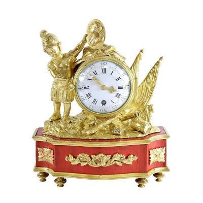 Rare 18th Century Clock - War Theme In Honor Of Louis XV