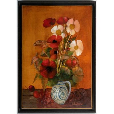 Oil On Canvas - Albert Deman - Still Life On Red Background - 20th Century