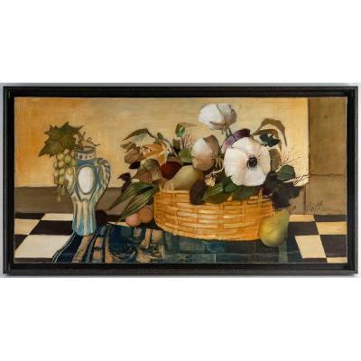 Oil On Canvas - Albert Deman - Still Life - XXth