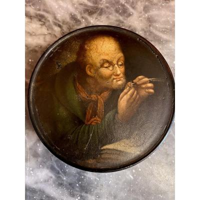 Old Paper Mache Snuffbox - Numbered - Period: First Half XIXth