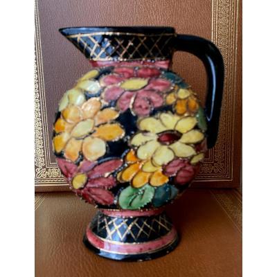 Vallauris Ceramic Pitcher - Monaco Decor - Hand Painted - Highlights Of Gilding - Twentieth Time