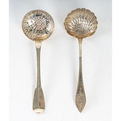 Magnificent Lot Of Two Sprinkling Spoons: XIXth Century - Sterling Silver