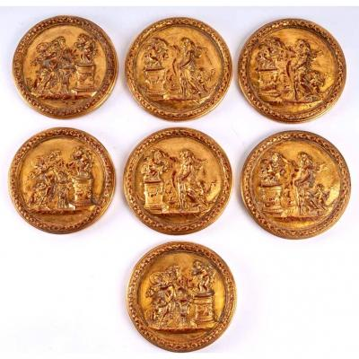 Set Of 7 Medallions In Golden Plaster With Leaf - XIXth - Antique Decorations