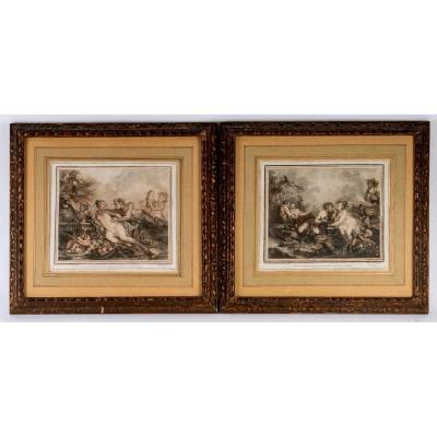 Pair Of Engraved Pencil Prints - Drawn And Painted By Jacques Philippe Caresme - XVIIIth