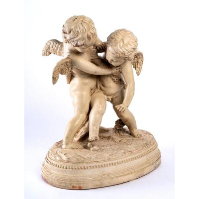 Large Patinated Terracotta - Two Loves Disputing A Heart After Falconet - XIXth