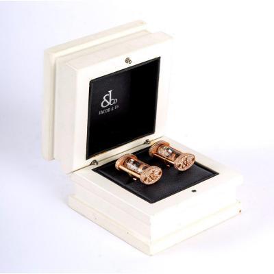 Boutons De Manchettes Or Rose Et Diamants - Maison Jacob & Co - XXème
