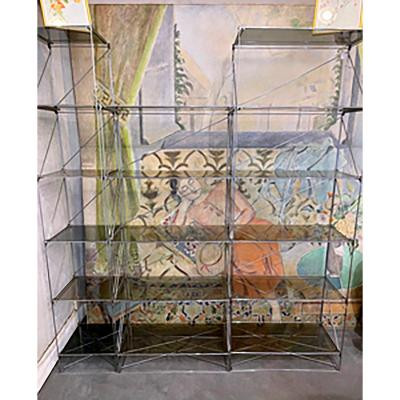 Suite Of 3 Showcases Silver Steel And Gray Smoked Glass - Max Sauze Stamp - Twentieth
