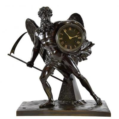 Patinated Bronze Clock - Period: Napoleon III - Chronos Or Saturn Master Of Time